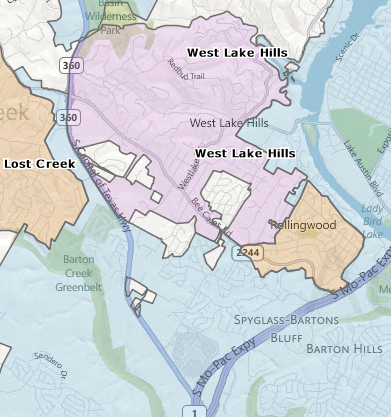Map of City of West Lake Hills Austin Eanes