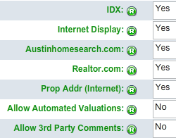 IDX Choices when entering a new Austin MLS Listing