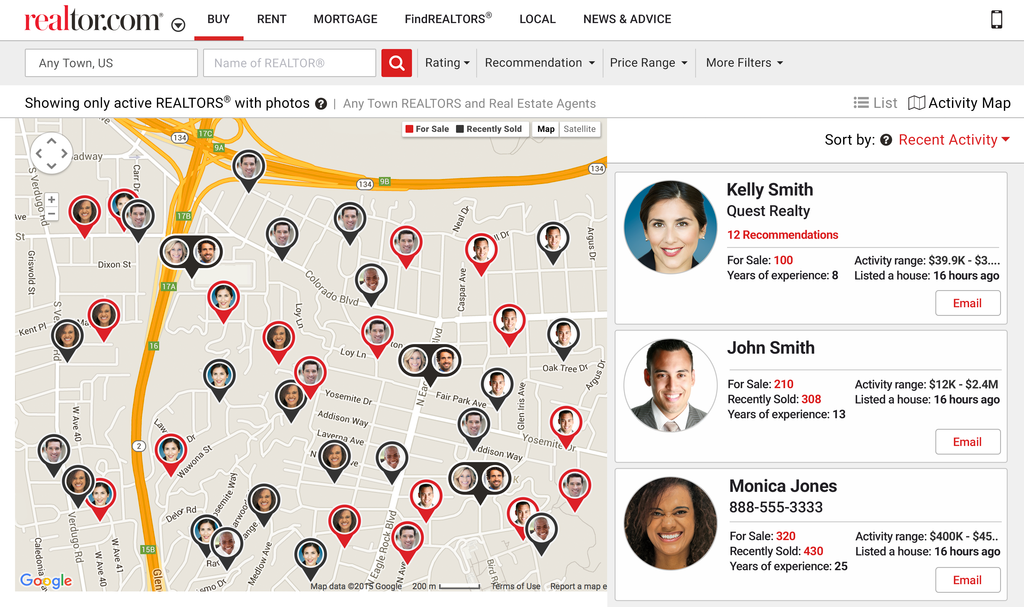 Map Showing Realtors who closed the sales